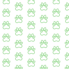 Pawprint Outline Polka dots - 1 inch (2.54cm) - Mid Green (#3ad42d) on White (#FFFFFF)