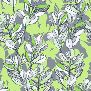 leaf and berry sketch pattern in lime green and grey