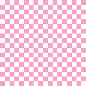 Checks - 1 inch (2.54cm) - White (#FFFFFF) & Pink (#FBA0C6)