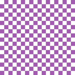Checks - 1 inch (2.54cm) - White (#FFFFFF) & Light Purple (#A25BB1)