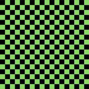 Checks - 1 inch (2.54cm) - Black (#000000) & Pale Green (#89DA65)