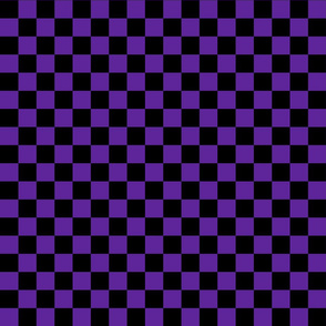 Checks - 1 inch (2.54cm) - Black (#000000) & Dark Purple (#5E259B)