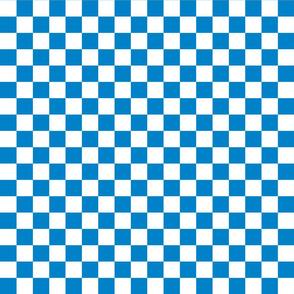 Checks - 1 inch (2.54cm) - White (#FFFFFF) & Mid Blue (#0081C8)