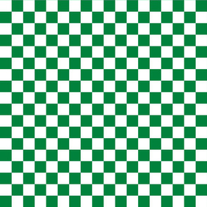 Checks - 1 inch (2.54cm) - White (#FFFFFF) & Dark Green (#00813C)