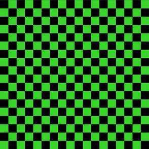Checks - 1 inch (2.54cm) - Black (#000000) & Light Green (#3AD42D)