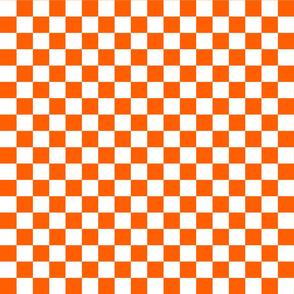 Checks - 1 inch (2.54cm) - White (#FFFFFF) & Orange (#FF5F00)