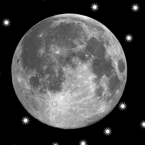B&W supermoon and stars