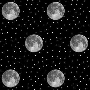 B&W moon and stars polkadot