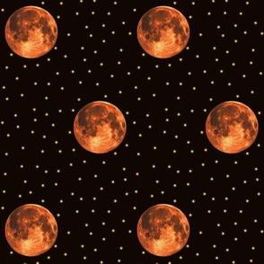 harvest moon and stars polkadot