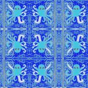 Aqua/pink Octopus on blue