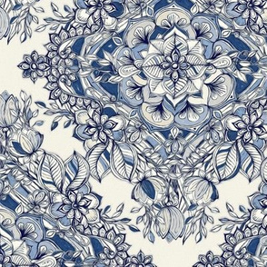 Floral Diamond Doodle in Navy Blue and Cream