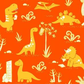 Library Dinos - Yellow on Orange
