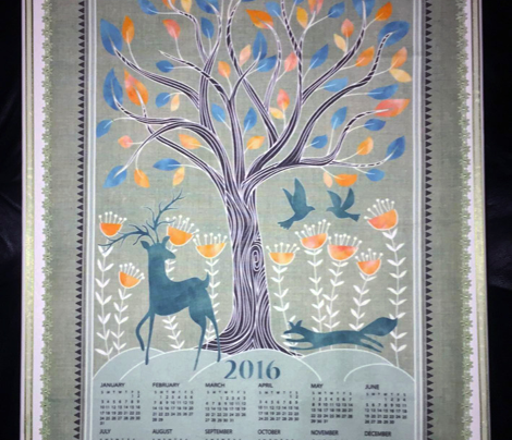 2016 A day in the forest tea towel calendar