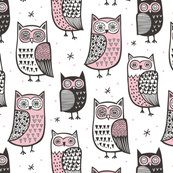Owls Black&White with Pink