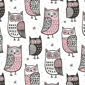 Owls Owl Black&White with Pink