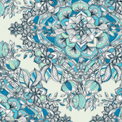 Floral Diamond Doodle in Teal and Turquoise