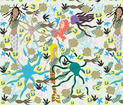 Octopus garden party fabric gracelillydesigns spoonflower for Garden party fabric by blackbird designs