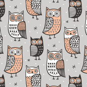 Owls Black&White on Grey