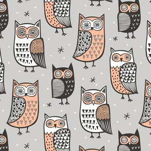 Owls Owl Woodland Fall Winter Black&White on Grey