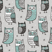 Owls Black&White Green on Grey