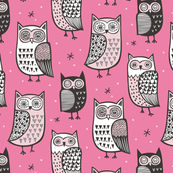 Owls Black&White on Pink