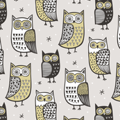 Owls Black&White Yellow/Green