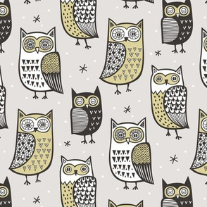 Owls Owl Woodland Fall Winter Black&White Yellow/Green