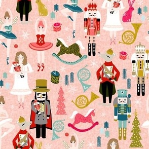 nutcracker ballet // nutcracker christmas fabric xmas holiday christmas ballet pink xmas holiday fabric