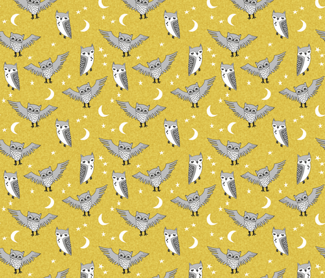 Owl mustard and grey kids nursery baby stars fabric for Grey nursery fabric
