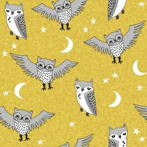 owl // mustard and grey kids nursery baby stars
