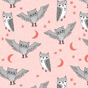 owl // pink rose pink owls grey girls sweet little girls room illustration