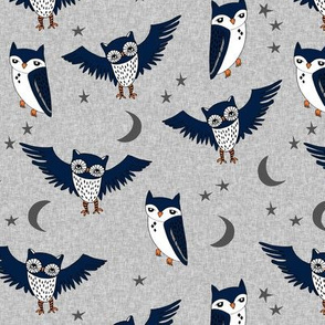 owl // stars moon night owl grey navy kids