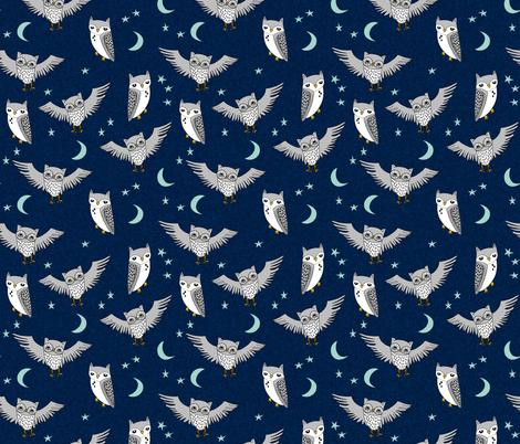 Owl moon stars sky night navy mint grey nursery cute for Grey nursery fabric