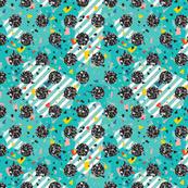 Geometric Modern Memphis Confetti Teal Blue Circles 80s