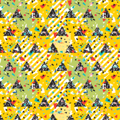 Geometric Modern Memphis Confetti Triangles Bright Yellow