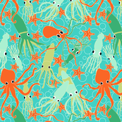 under the sea with squid