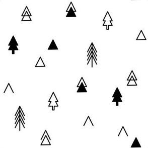 Trees - Black on White Scattered