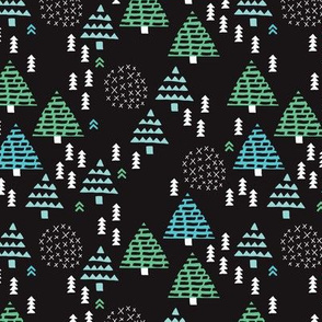 Dark night christmas trees scandinavian winter night woodland pattern with geometric details