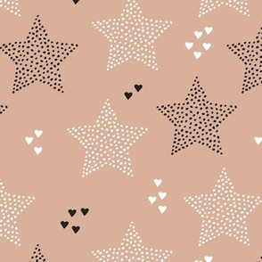 Twinkle twinkle little star cute baby nursery or christmas theme print in black white and dark night beige brown