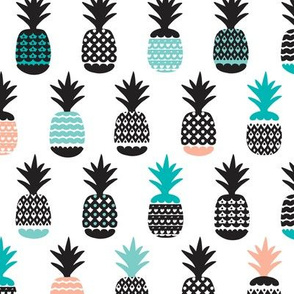 Fun black aqua blue and coral pink ananas color pops geometric pineapple fruit summer beach theme illustration pattern