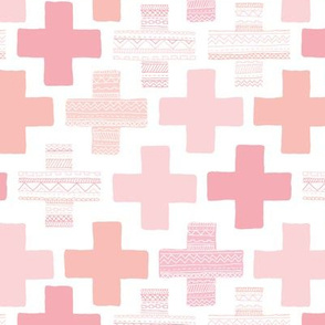 Plus plus cross geometric modern patterns in pastel white and pink