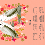 2016 Barn Owls Tea Towel Calendar by Andrea Lauren