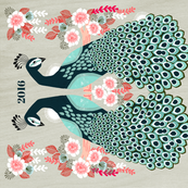 2016 Peacock Tea Towel Calendar by Andrea Lauren