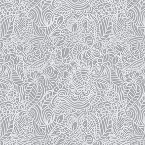 gray and white zentangle