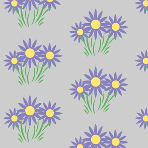 Danita's Purple Flowers on Gray