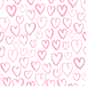 hearts // pastel pink love valentines simple minimal design in girly pastel repeating pattern print