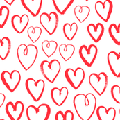 heart // red hand-drawn hearts in minimal repeating print simple artistic repeating illustration pattern