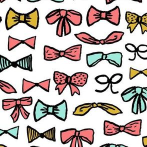 bows // fashion cool beauty fashion print in mint and coral illustration pattern