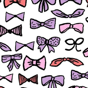 bows // beauty fashion print for trendy girls in purple pink and coral illustration pattern