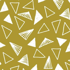 Hand Drawn Triangles - Golden Olive by Andrea Lauren